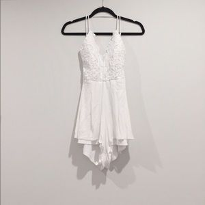 white strappy backless crochet playsuit
